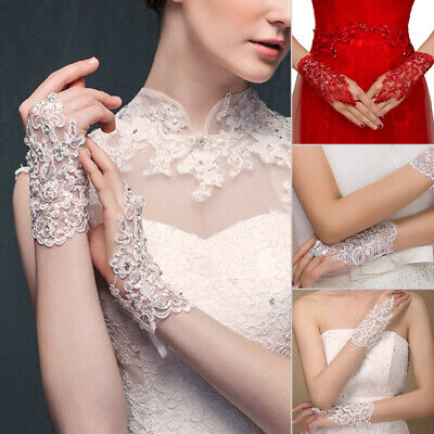Fingerless Lace Satin Short Paragraph Rhinestone Bridal Wedding Party Gloves - Short Satin Gloves