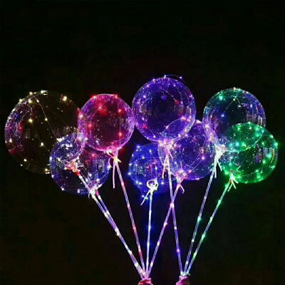 LED BoBo Balloon Lights Transparent  Colorful Luminous with Stick Party ftu jk - Balloons With Lights