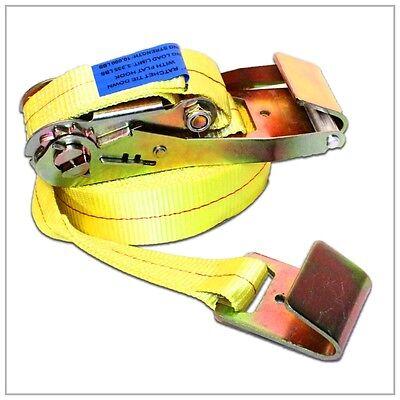 2 X 15 Ratchet Tie Down Strap W Flat Hooks Flatbed Trailer Cargo Control