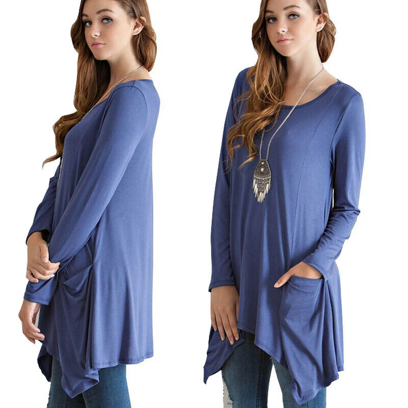 Womens Long Sleeve Round Neck Asymmetrical Hem Trapeze Top Blouse T-Shirt Tunic Clothing, Shoes & Accessories