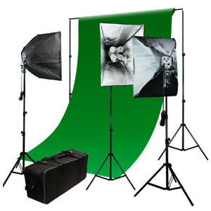 Photo Studio Photography Kit 3 softbox Light backdrop Continuous