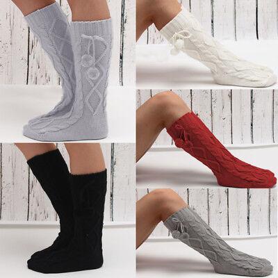 Girls Womens Warm Fur Cable Knit Non-Slip Slipper Bootie Socks Pom Poms Cuff New