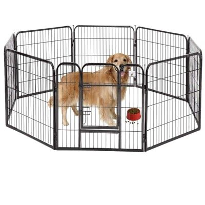 BestPet Heavy Duty Playpen Dog Exercise Fence 40-Inch Black Pet 8 Panel
