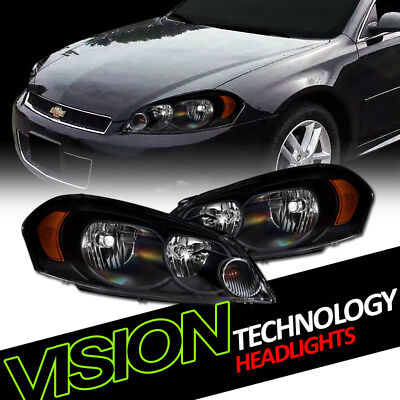 Euro Black Headlights Parking Turn Signal Lamps Amber DY 06+ Impala/Monte Carlo