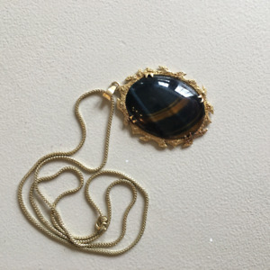 14K yellow gold tigers eye quartz necklace pendant and chain