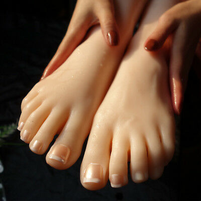 Lifesize 1 Pair Soft Silicone Foot Mannequin Fetish Love Jewelry Sock Display