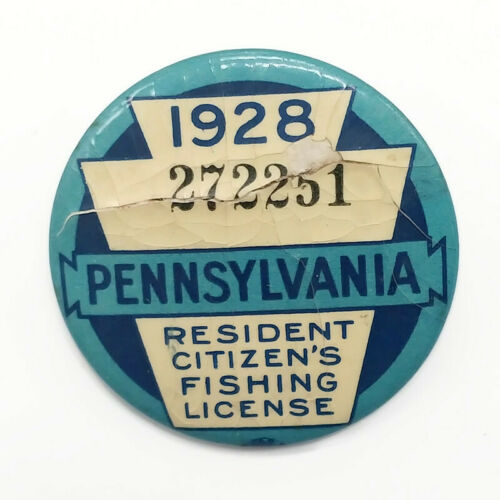 Vintage 1928 PA Pennsylvania Resident Fishing License Button Pin With Paper