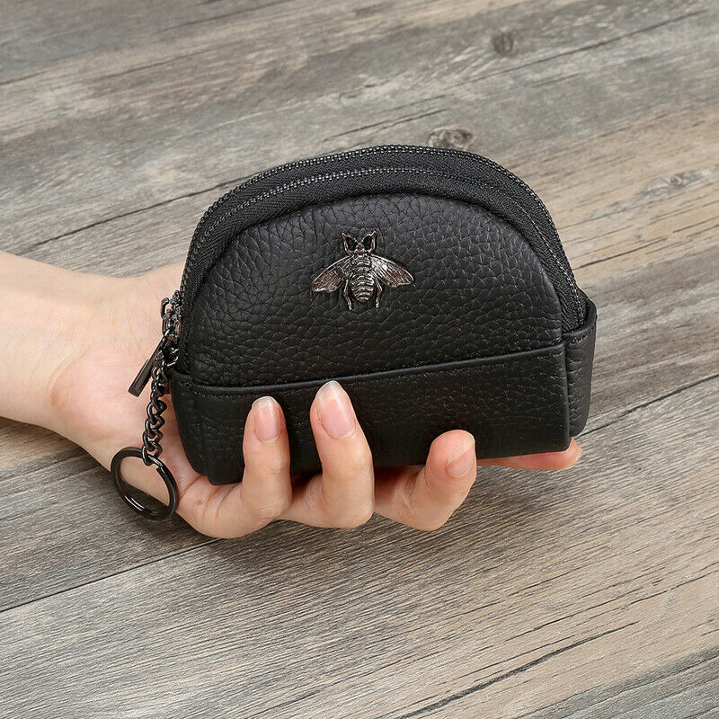 Fashion Women Coin Purse Small Genuine Leather Double Zipper Purse Wallet US Clothing, Shoes & Accessories