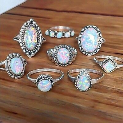 8-Piece Ring Set, Imitation Faux Opal, Bohemian Boho Hippie Style Jewelry (Opal Set Ring)