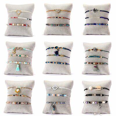 3Pcs/set Boho Women Shell Pearl Beads Natural Stone Tassel Crystal Bracelet Gift (Multi Color Bracelet)