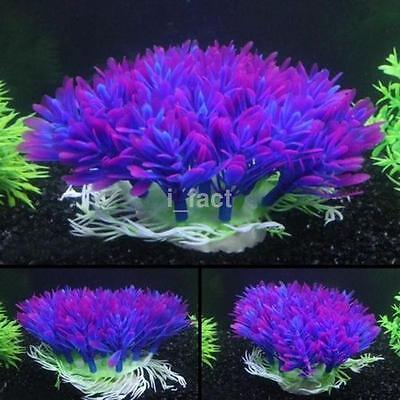 Fish Tank Aquarium Decor Accessories Artificial Water Plant Purple Plastic Grass