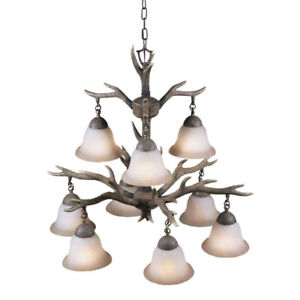 Aztec Light   ing Buckhorn  9 Light Chandelier