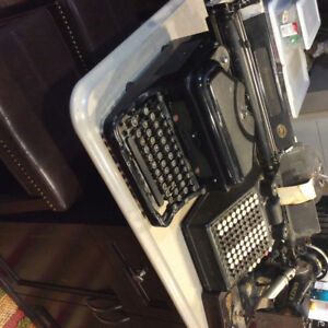 Antique typewriter, sewing machine, adding machine