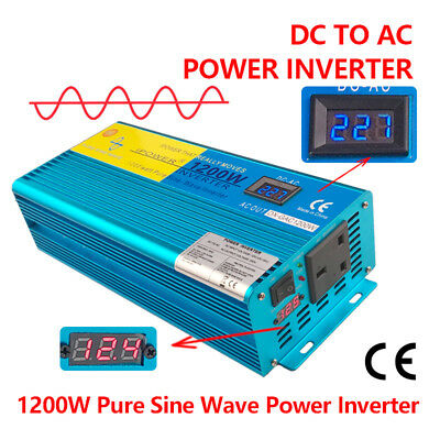 1200W/2400W LED Pure Sine Wave power inverter DC 12V TO AC 220V 230V 240V