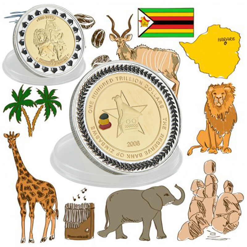 WR Zimbabwe 100 Trillion Dollars Gold/Silver Commemorative Coin Collection Set