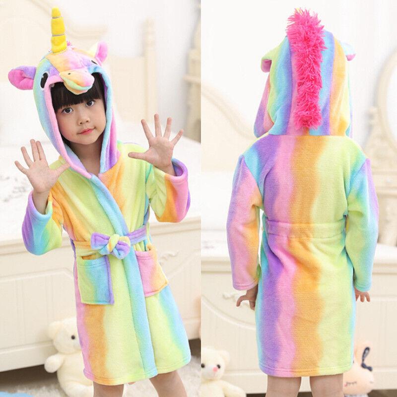 Toddler Kid Girl's Baby Flannel Hooded Bath Robe Cartoon Gow