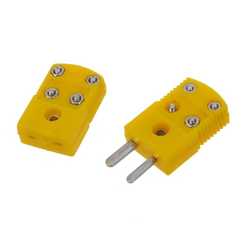 Yellow Plastic Shell K Type Thermocouple Plug Socket Connector Set Y7G7