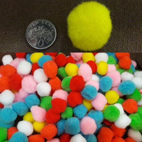 BNIP: Pom Pom, diameter 3cm - DIY Art and Crafts, Multi Color Plush Ball Soft
