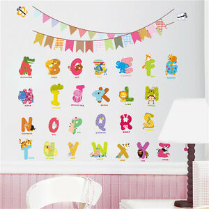 Animals Alphabet Removable Wall Decal Stickers For Baby Nursery Room Decor Kid Y