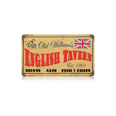 Old Tavern Sign - Old William's English Tavern Pub Stout Ale Beer Fish Tin Metal Steel Sign 14x8