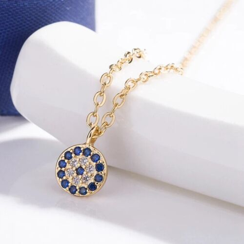 Gold or Silver Plated Blue Evil Eye Disc Hamsa Cubic CZ Pendant Necklace N73 Fashion Jewelry
