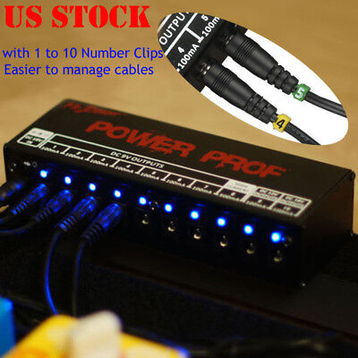 10CH Isolated Outputs Guitar Effect Pedal Board Power Supply 9V 12V 18V US Plug (Isolated Power Supply)