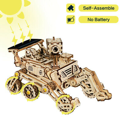 3d Puzzles For Kids (ROKR 3D Wooden Puzzle Model Building Kits  Solar Energy Toy Gift for Boys)