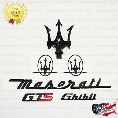Maserati Emblem Ghibli GTS Grille Trident Side Logo Black Badge Set Sticker Kit