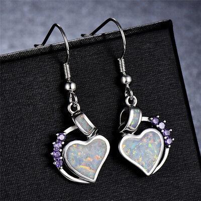 Amethyst Heart Dangle Earrings (Women Ladies White Fire Opal amethyst Heart Jewelry Hook Drop Dangle Earrings )