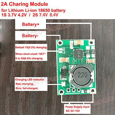 Charging Charger Module 1s 3.7v 2s 7.4v Lithium Lipo Li-ion 18650 Battery 8.4v