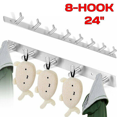 Stainless Steel Coat Robe Hat Clothes Wall Mount Hanger Towel Rack 8 Hooks NEW