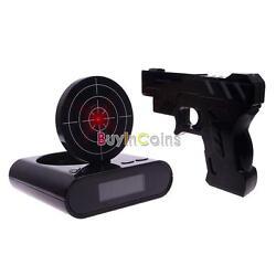 Fashion Novelty LCD Shooting Game Target Panel Gun Alarm Clock Gift Toy DLUS