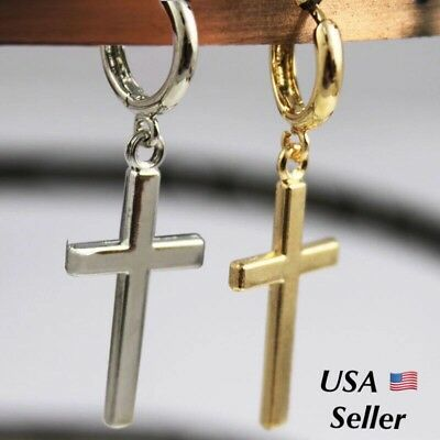Dangling Stainless Steel Cross (Men Women Stainless Steel Cross Hoop Dangle Huggie Drop Earrings Silver Gold E14 )