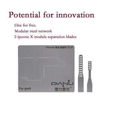 Iphone X Bga Reballing Stencil Pcb Planting Tin Steel With Separation Knife Tool