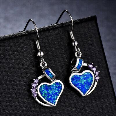 Amethyst Heart Dangle Earrings (Women Ladies Blue Fire Opal amethyst Heart Jewelry Hook Drop Dangle Earrings )