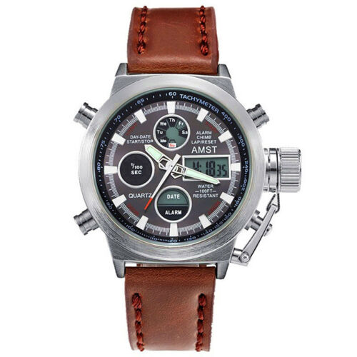 AMST Military Army Mens Sport Army Leather LED Quartz Wrist Watch Waterproof