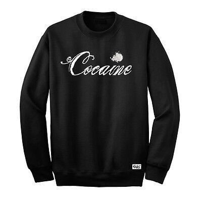 """EAKS® Herren Sweatshirt """"COCAINE-SCHRIFTZUG"""" schwarz Pullover Dope-Koks Kokain"""