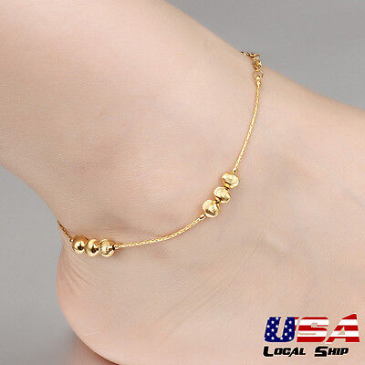 Lady Exquisite Foot Chain Bracelet 18K Gold Plated Extended Anklets Adjustable