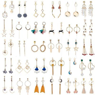 Women Geometric Crystal Tassel Drop Dangle Earrings Long Chain Jewelry Gift New