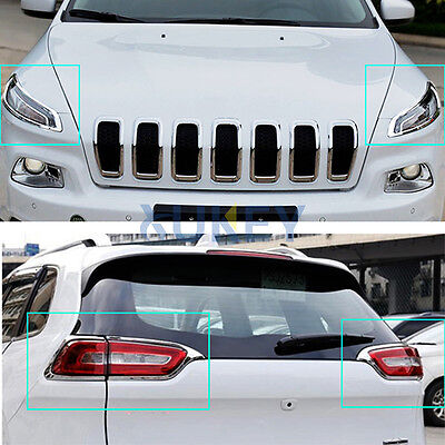 For Jeep Cherokee 14-18 Front Rear Chrome Headlight Head & Tail light Cover Trim - Jeep Cherokee Chrome Headlight Trim