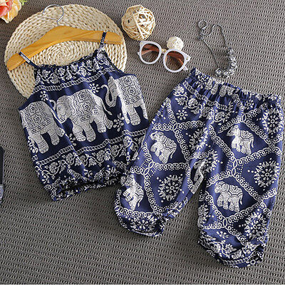 Summer Legging Outfits (US Kids Girl Toddler Elephant Tops Vest+Leggings Summer Clothes Outfits)