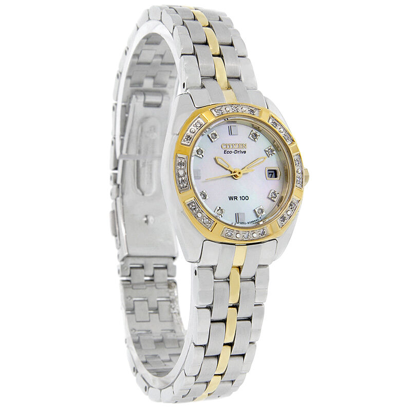 Citizen Eco-Drive Ladies Paladion Diamond Two Tone Watch EW1594-55D