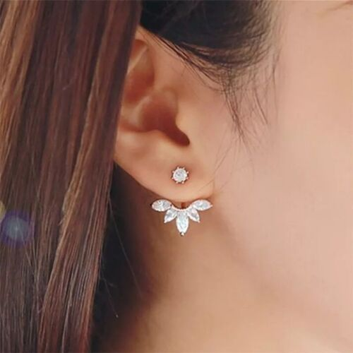 Ear Jacket Front Back Leaf Flower Crystal CZ Stud Earrings Silver Gold Tone E1 Earrings