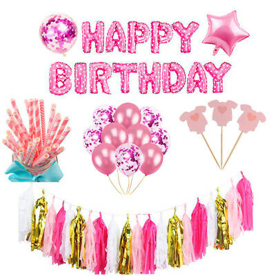 Baby Shower Themes Girl (Baby Shower Pink Theme Girl Foil Balloon Banner Set Birthday Wedding Party)
