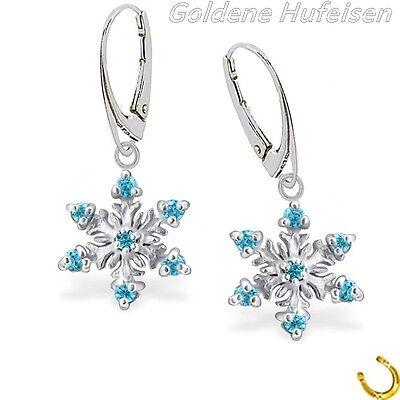 Kristall Schneeflocke Brisur 925 Echt Silber Kinder Damen Ohrringe Blau / z-737