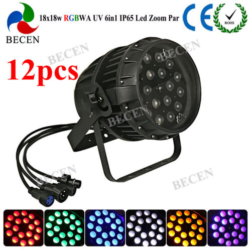 Waterproof 18x18w Zoom Par Rgbwa Uv 6in1 10-60 Degree Led Par 64 Dj Light 12pcs