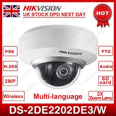 UK Stock HIKVISION DS-2DE2202-DE3/W HD1080P WiFi Mini Dome PTZ CCTV  IP Camera