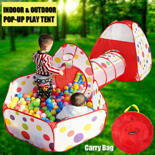 Kid Toddlers Tunnel Pop Up Play Tent Ball Pool Playhouse Ind