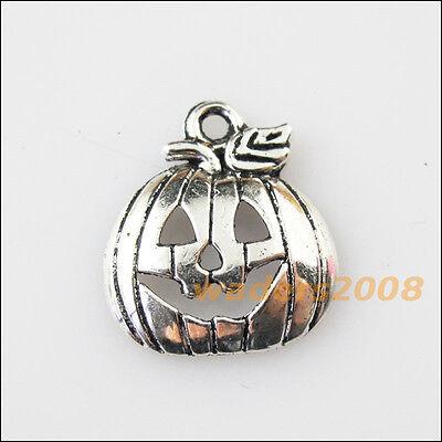 15 New Halloween Pumpkin Mask Tibetan Silver Tone Charms Pendants 16x18mm