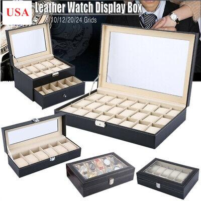6/10/12/20/24 Slots PU Leather Watch Display Case Jewelry Storage Box - Watch Jewelry Box